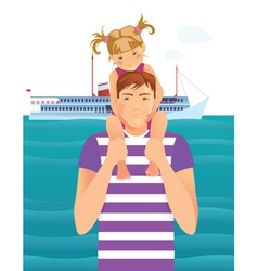 Man with little girl vector