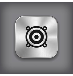 Audio speaker icon - metal app button vector