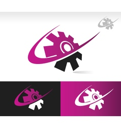 Swoosh gear logo icon vector