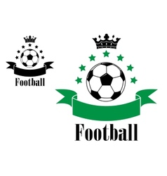 Football or soccer ball symbols with green and vector