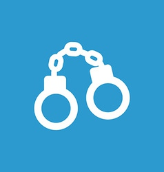 Handcuffs icon white on the blue background vector