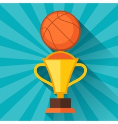 Sports with basketball and prize in flat style vector