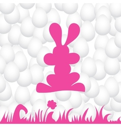 Abstract eggs background with pink rabbit vector