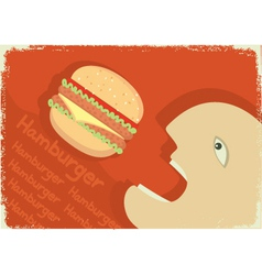 Man eating hamburger vector
