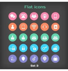 Round flat icon set 3 vector