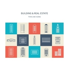 Buildings colorful and thin line icons vector