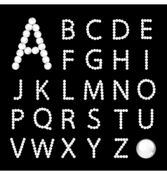 Alphabet made from white pearls for your design vector