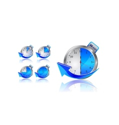 Blue timer clocks with arrows vector