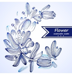 Blue watercolor flowers edging vector