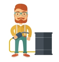 Businessman with barrel and pump vector