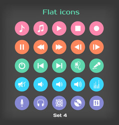Round flat icon set 4 vector