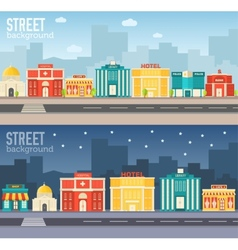 Flat colorful sity buildings set vector