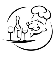 Waiter with champagne and glasses vector