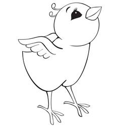 Outline surprised chicken vector