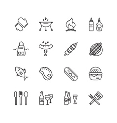 Bbq and food icons set outdoor kitchen or vector