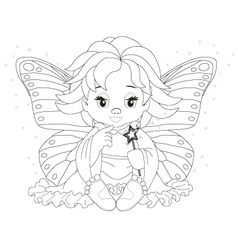 Magical fairy coloring page vector