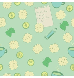 Seamless pattern with cookies lime mint and tea vector