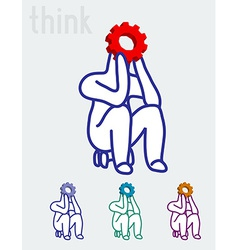 The thinker business and education concept vector