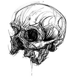 Broken skull drawing line work vector