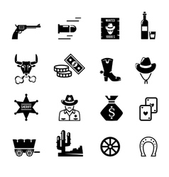 Wild west icons vector