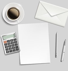 Sheet of paper envelope calculator pen and cup of vector