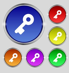 Key icon sign round symbol on bright colourful vector