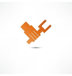 Hand with wrench icon vector