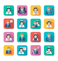 Medicine doctors and nurses icons set vector