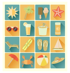Flat icons summer beach vector