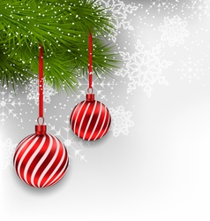Christmas background with hanging glass balls and vector