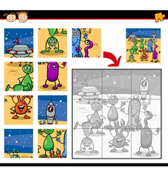 Cartoon aliens jigsaw puzzle game vector