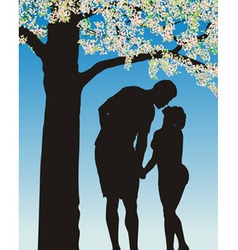 Tradition kiss under cherry bloom vector