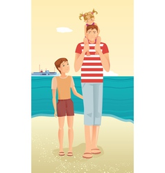 Man with little girl and boy vector