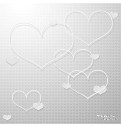 Modern thin hearts outlines with shadows vector