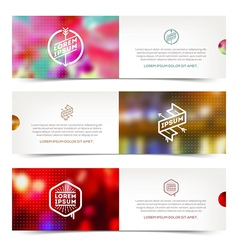 Abctact horizontal banners with hipster emblems vector