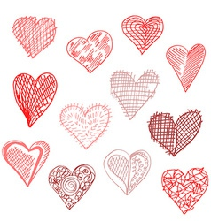 Hand drawn hearts set vector