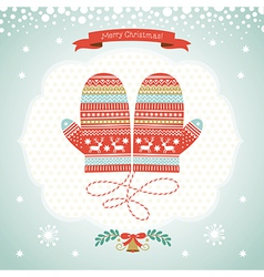 Card design with christmas mittens vector
