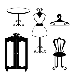 Antique furniture silhouettes vector