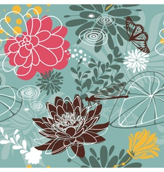 Insect seamless floral pattern vector