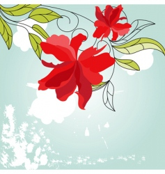 Blue background with red flowers vector