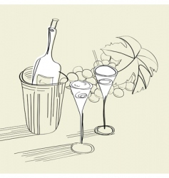 Bottle and glasses vector