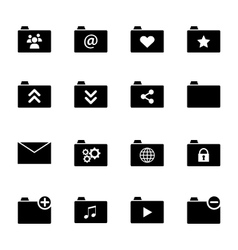 Set of various folder icons - black flat design vector