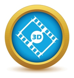 Gold 3d film icon vector