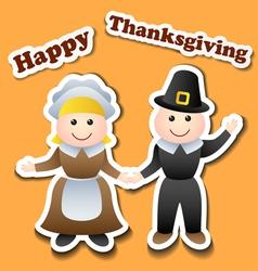 Cartoon pilgrim stickers for thanksgiving vector