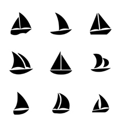 Black sailboat icons set vector