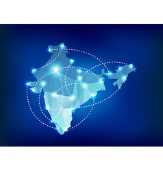 India country map polygonal with spot lights vector