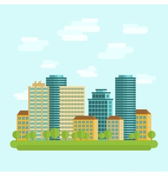 City downtown centre flat vector