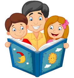 Cartoon father reading with his children vector