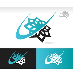 Swoosh snowflake logo icon vector