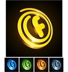 Vibrant 3d f letter vector